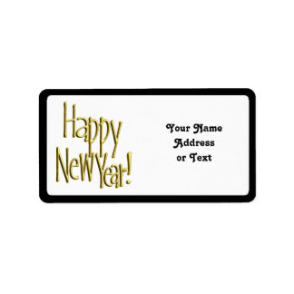 Happy New Year - Gold Text Label