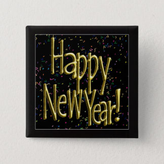 Happy New Year - Gold Text on Black Confetti Button