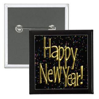 Happy New Year - Gold Text on Black Confetti 2 Inch Square Button