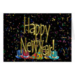 Happy New Year - Gold Text on Black Confetti Stationery Note Card