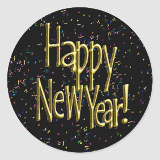 Happy New Year - Gold Text on Black Confetti Classic Round Sticker