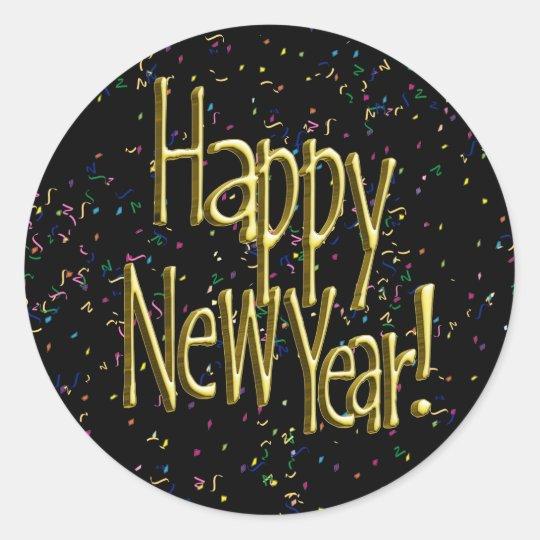 Happy New Year - Gold Text on Black Confetti Classic Round Sticker
