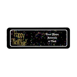 Happy New Year - Gold Text on Black Confetti Return Address Labels