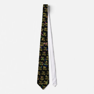 Happy New Year - Gold Text on Black Confetti Neck Tie