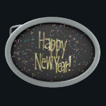"Happy New Year - Gold Text on Black Confetti Oval Belt Buckle<br><div class=""desc"">* Celebrate the New Year with a custom Belt Buckle! The buckle is  available as oval or rectangular shapes. ~ #Beltbuckle #custombeltbuckle #buckle</div>"