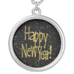 Happy New Year - Gold Text on Black Confetti Round Pendant Necklace