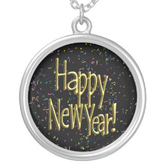 Happy New Year - Gold Text on Black Confetti Silver Plated Necklace