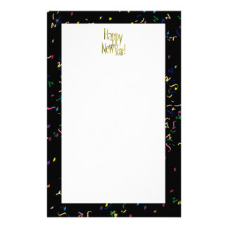 Happy New Year - Gold Text on Black Confetti Stationery