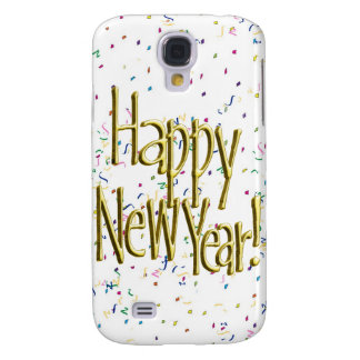 Happy New Year - Gold Text on White Confetti Samsung Galaxy S4 Covers
