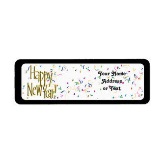 Happy New Year - Gold Text on White Confetti Custom Return Address Labels