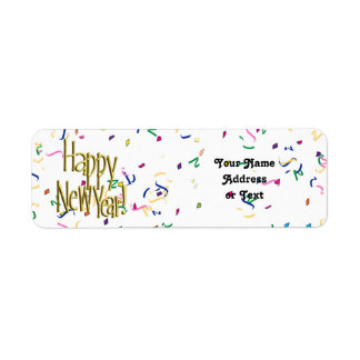 Happy New Year - Gold Text on White Confetti Label