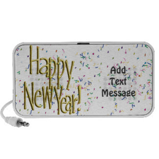 Happy New Year - Gold Text on White Confetti Speaker