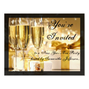 happy new year golden champagne glasses invitation