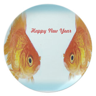 Happy New Year Golden Fish Plate