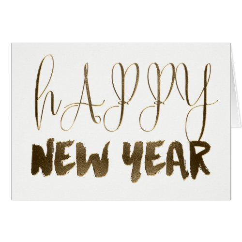 Happy New Year Golden Text Gold Typography Card Sales 8310