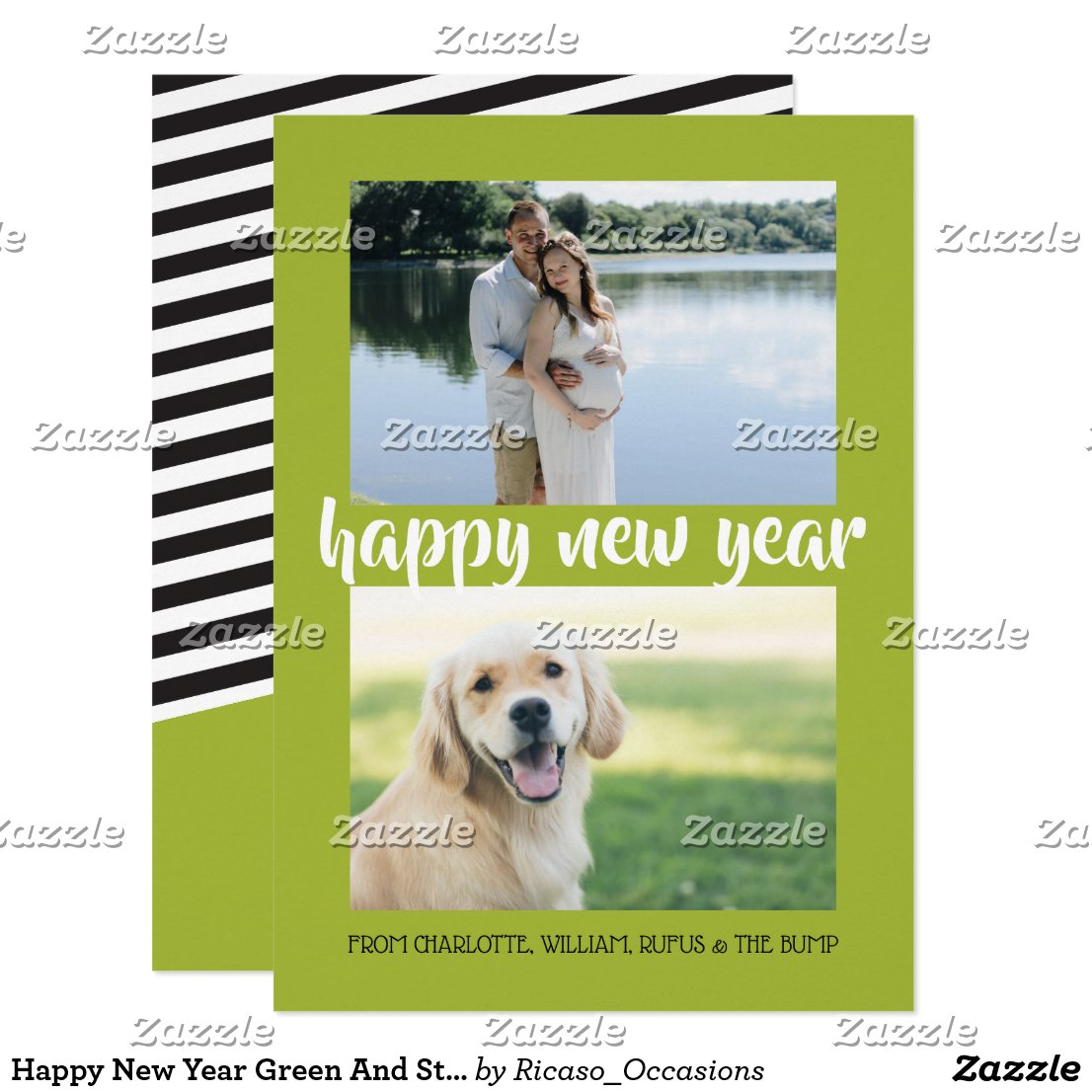 Happy New Year Green And Stripes Personalized Card