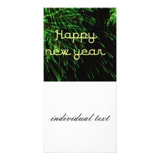 happy new year green photo card