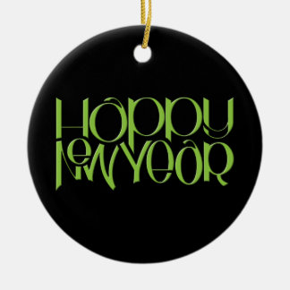 Happy New Year green Round Ornament