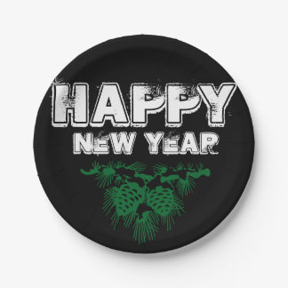 Happy New Year Green, White, Black Text and Pine Paper Plate