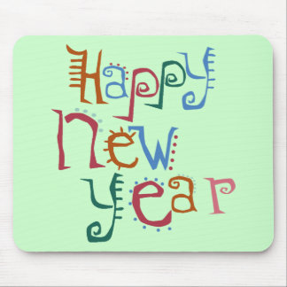 Happy New Year Greeting Mouse Pad