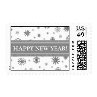 Happy New Year Grey White Snow Postage Stamp