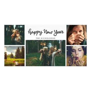 ohwhynotweddings Happy New Year Handwritten Five Photo Holiday Card