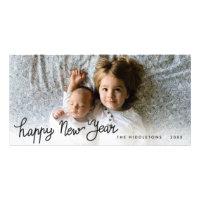 Happy New Year Handwritten Holiday Photo Card