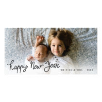 Happy New Year Handwritten Holiday Photo Card