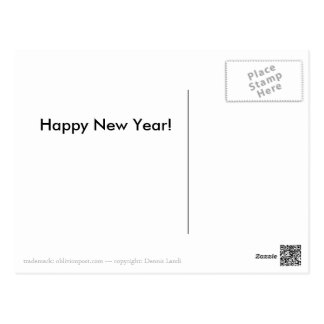 Happy New Year - Heart Gold 01 Postcard