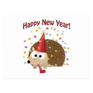 Happy New Year! Hedgehog Postcard
