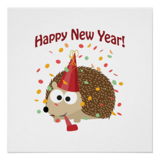 Happy New Year Hedgehog! Perfect Poster