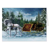 Happy New Year Horse Sleigh (36x48) Big Card