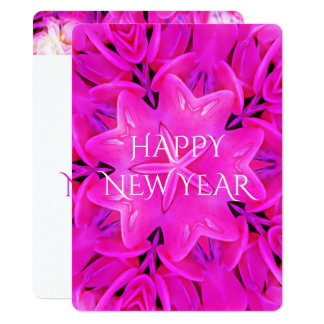 Happy New Year Hot Pink Kaleidoscope Design Floral Card
