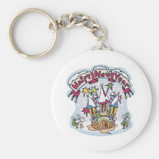 Happy New Year House Keychain