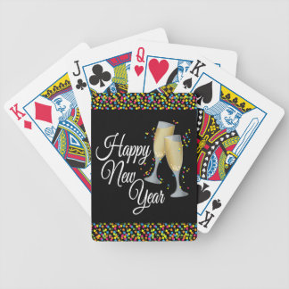 Happy New Year I Champagne Glasses Bicycle Playing Cards