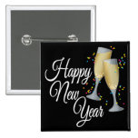 Happy New Year I Champagne Glasses 2 Inch Square Button