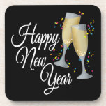 Happy New Year I Champagne Glasses Drink Coaster