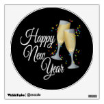 Happy New Year I Champagne Glasses Wall Stickers