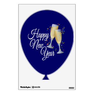 Happy New Year I Champagne Glasses Wall Sticker