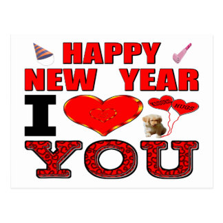 Happy New Year I Love You Postcard