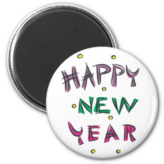 Happy New Year in Candy Colors 2 Inch Round Magnet