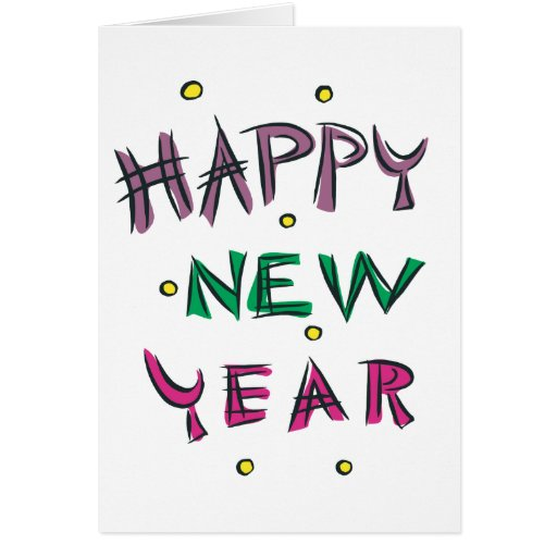 Happy New Year in Candy Colors Cards
