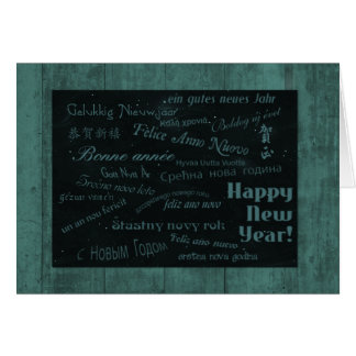 Happy New Year in Many Languages, Teal Edition Card