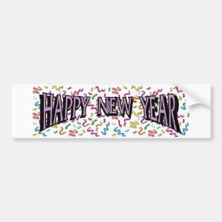 Happy New Year in Purple Bumper Stickers