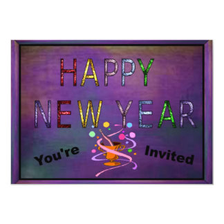 Happy New Year in Stained Glass Card