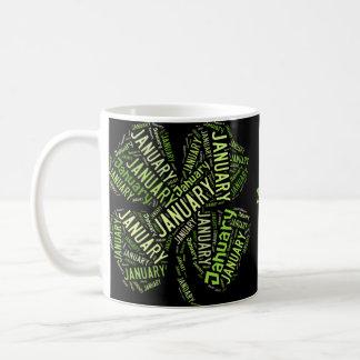 Happy New Year January Four Leaf Clover 2016 Classic White Coffee Mug