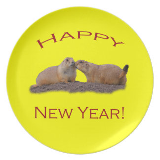 Happy New Year Kiss Melamine Plate