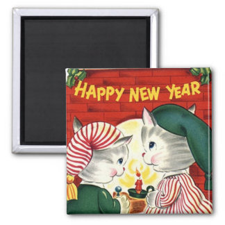 Happy New Year Kittens Vintage Magnet