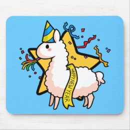 Happy New Year Llama Mouse Pad