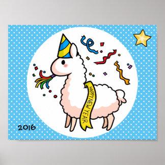 Happy New Year Llama Poster